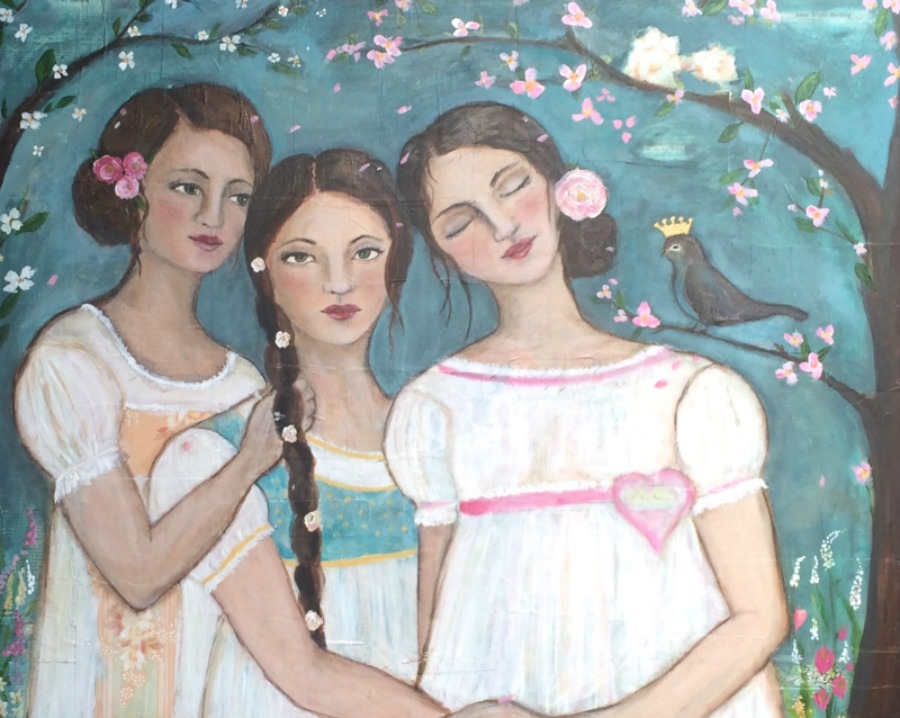 Three Sisters and the Mama Bird - Original Painting SOLD